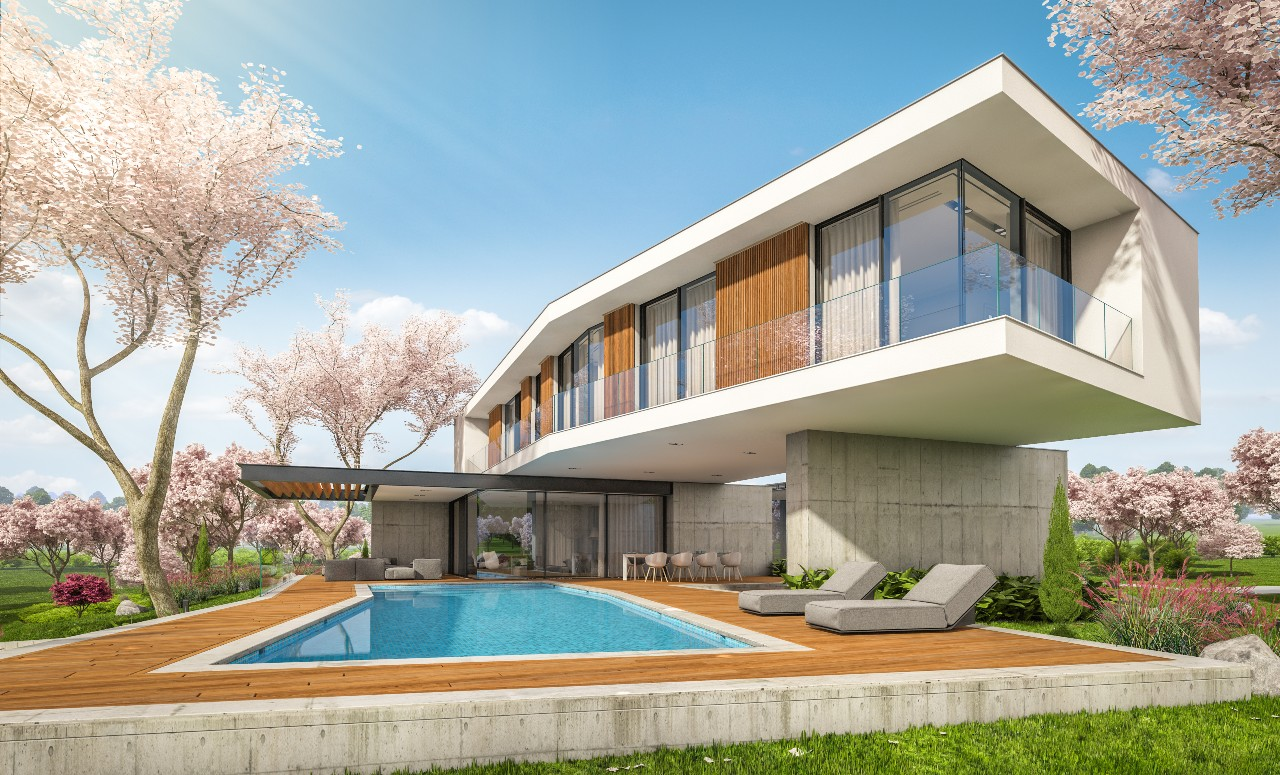 construire sa maison moderne avec piscine