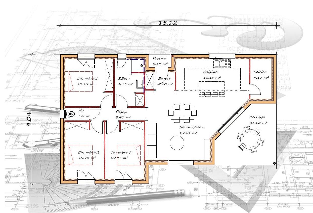 Vente maison à Laplume (47310) de 90 m2 habitable sur terrain de 2150 m2