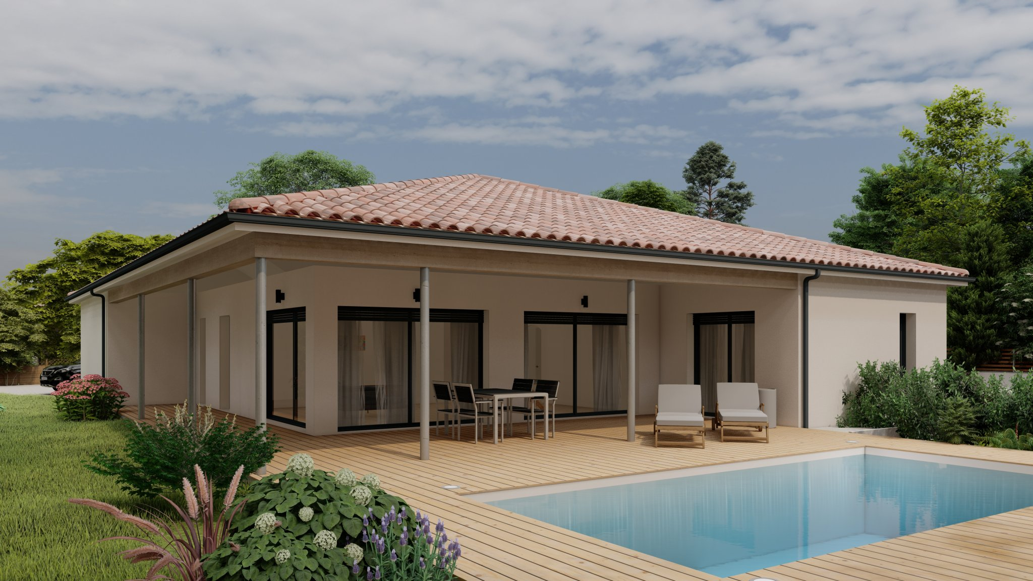 Vente maison à Bretagne de marsan (40280) de 127 m2 habitable sur terrain de 686 m2