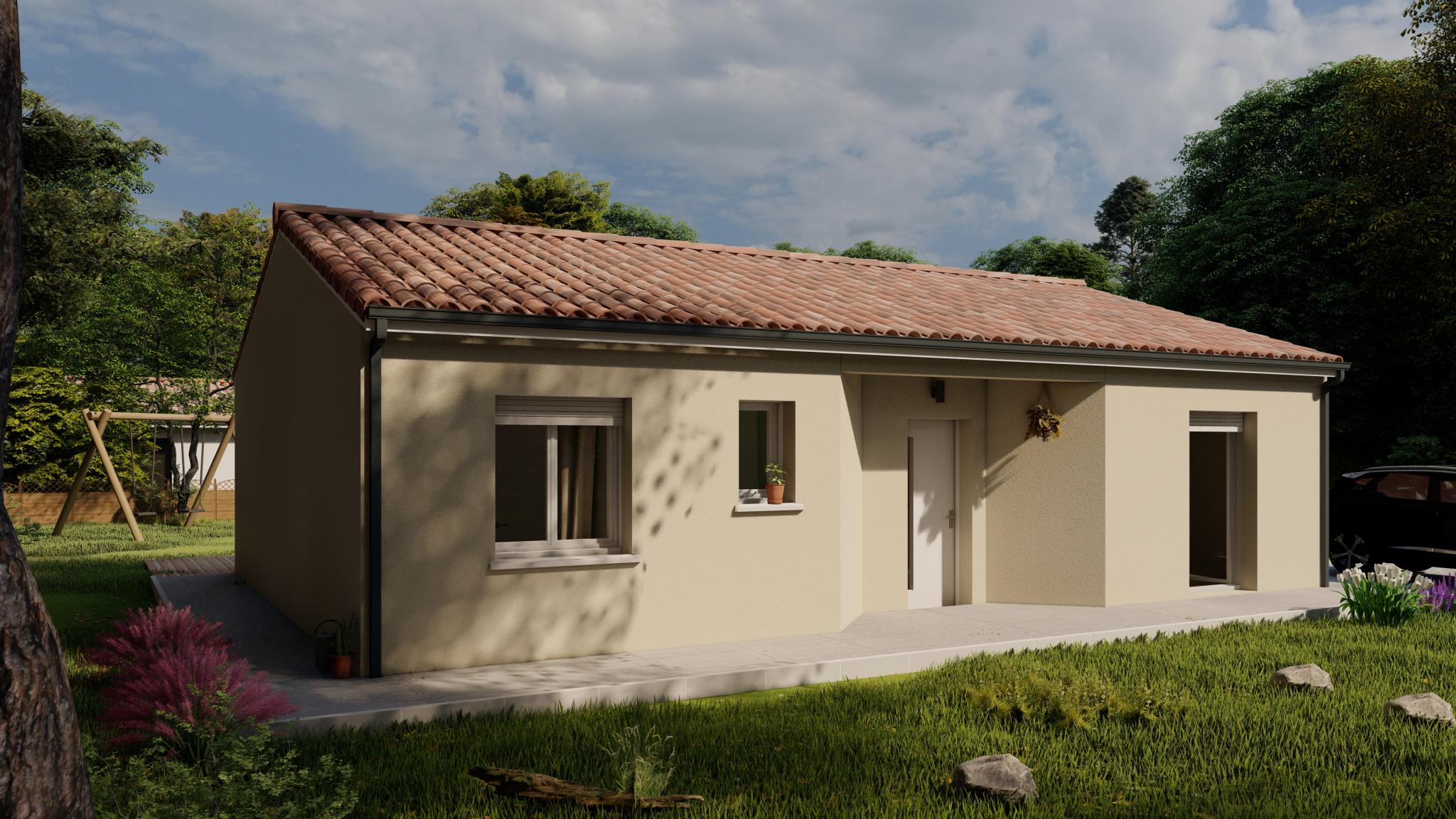 Vente maison à Montsoue (40500) de 80 m2 habitable sur terrain de 803 m2