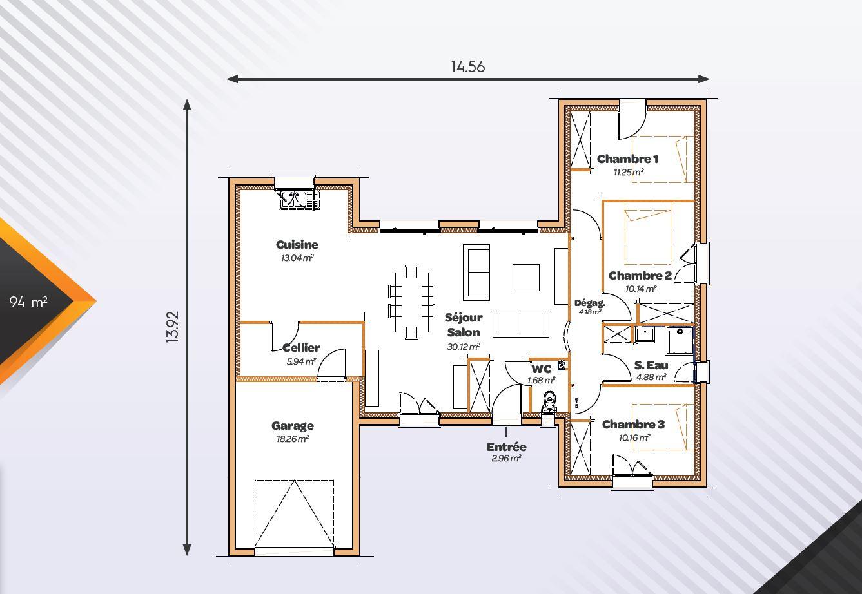 Vente maison à Pompignac (33370) de 94 m2 habitable sur terrain de 1545 m2